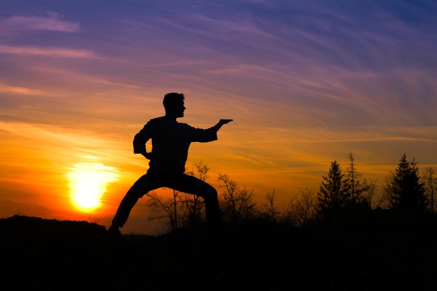 martial arts - man on beach- small - shutterstock_54077647