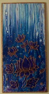 paint pouring purple lotusses