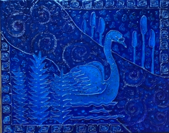 Blue swan - small size IMG_3409